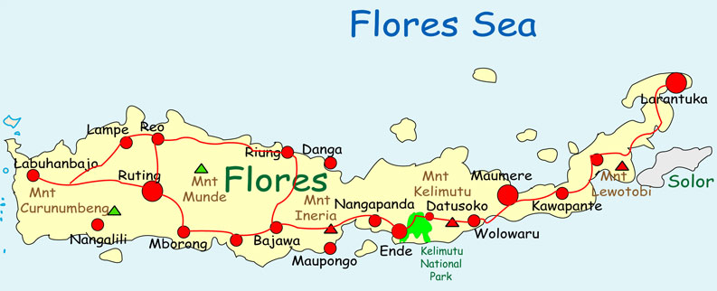 Flores Island, Indonesia Travel Map