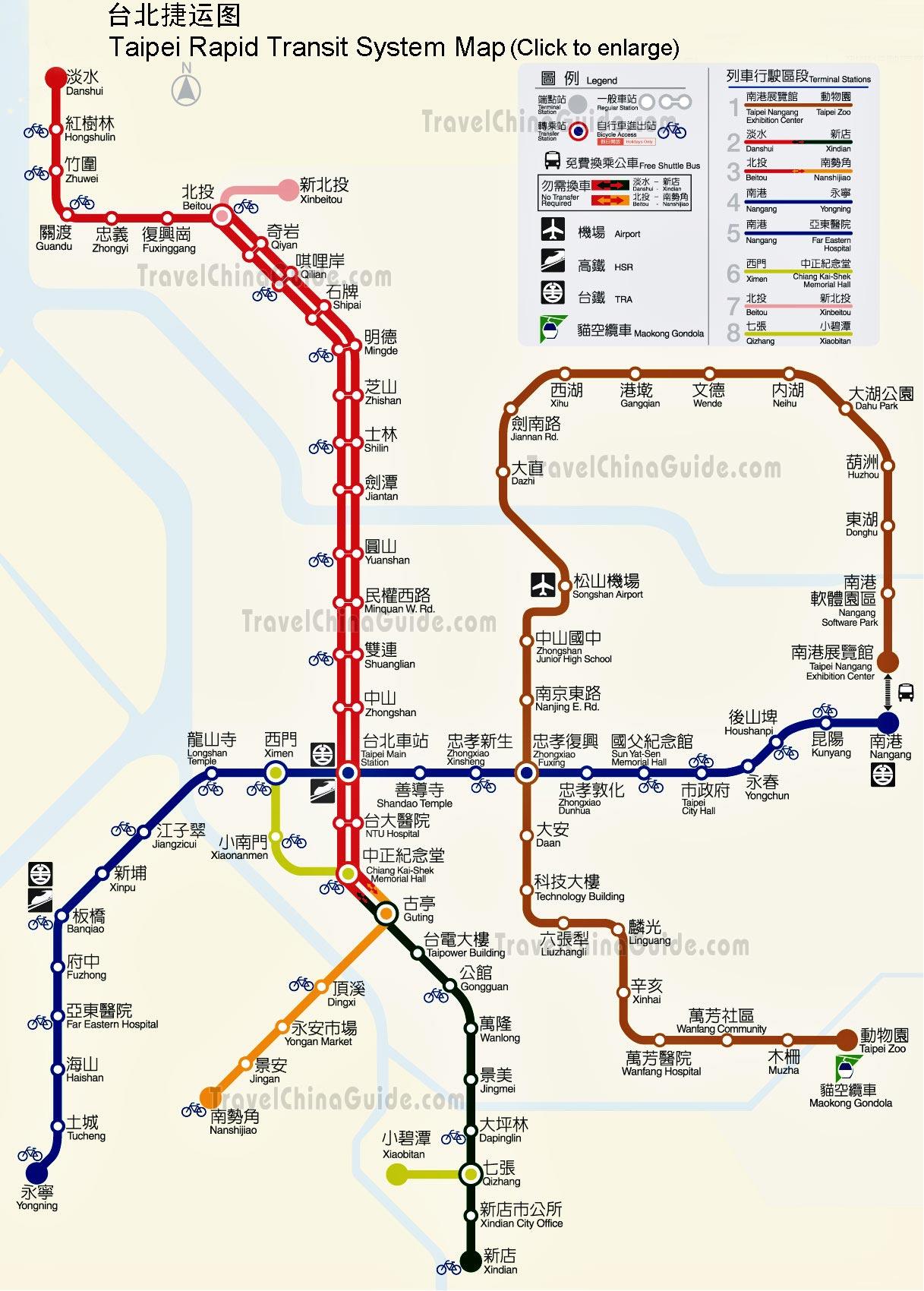 Taiwan Railway Map & Taipei MRT Map | Travel Transmissions