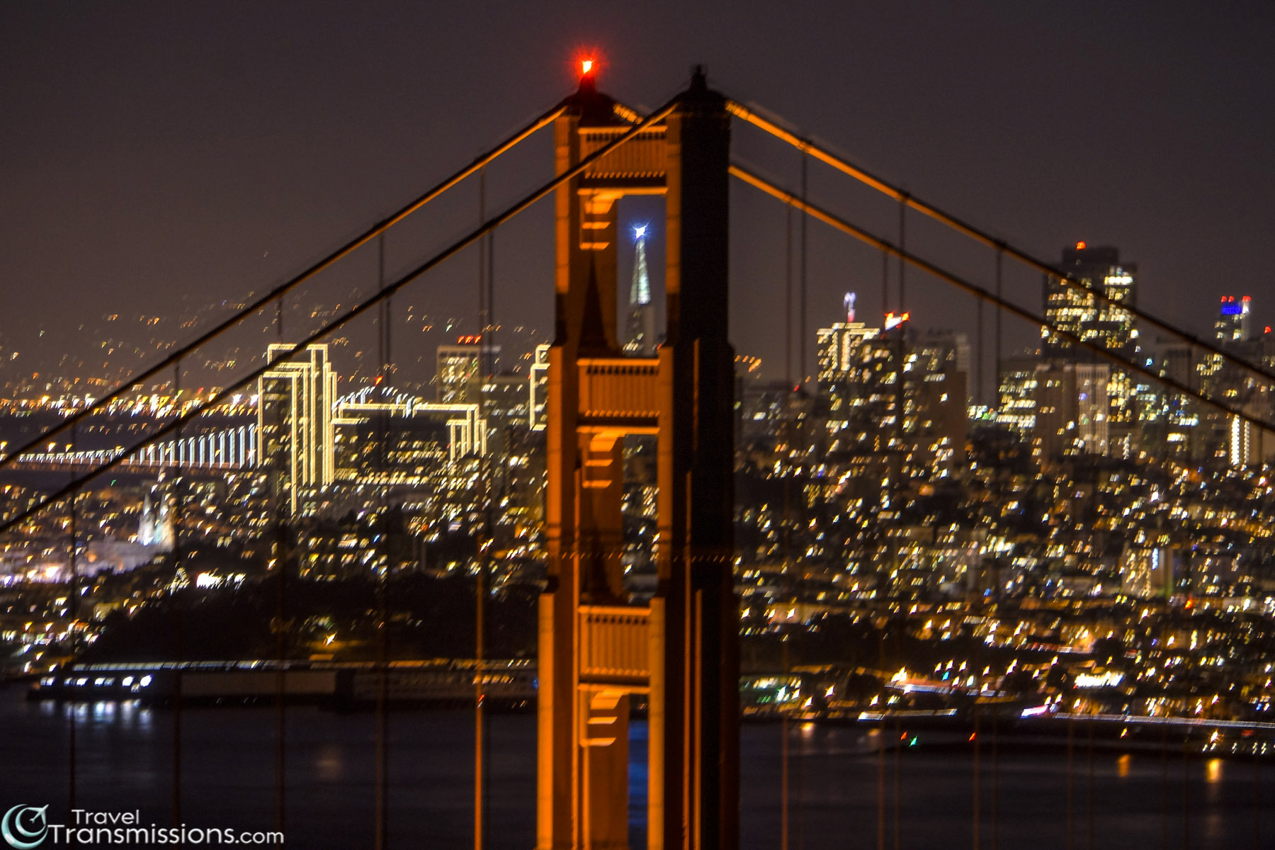 The Transamerica Pyramid Framed by the Golden Gate